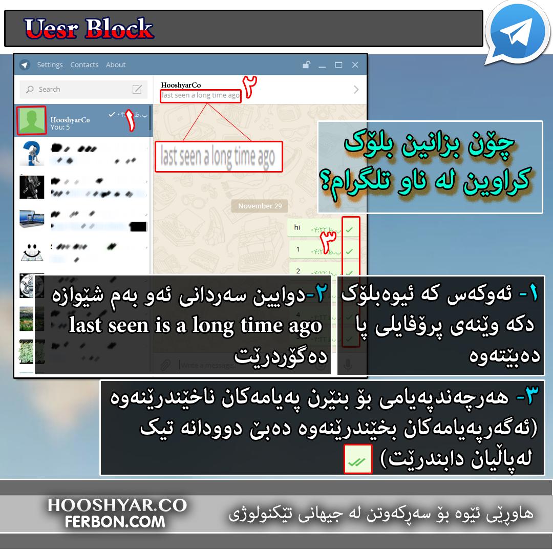 چۆن بزانین بلۆک کراوین لەناو تلگرام؟