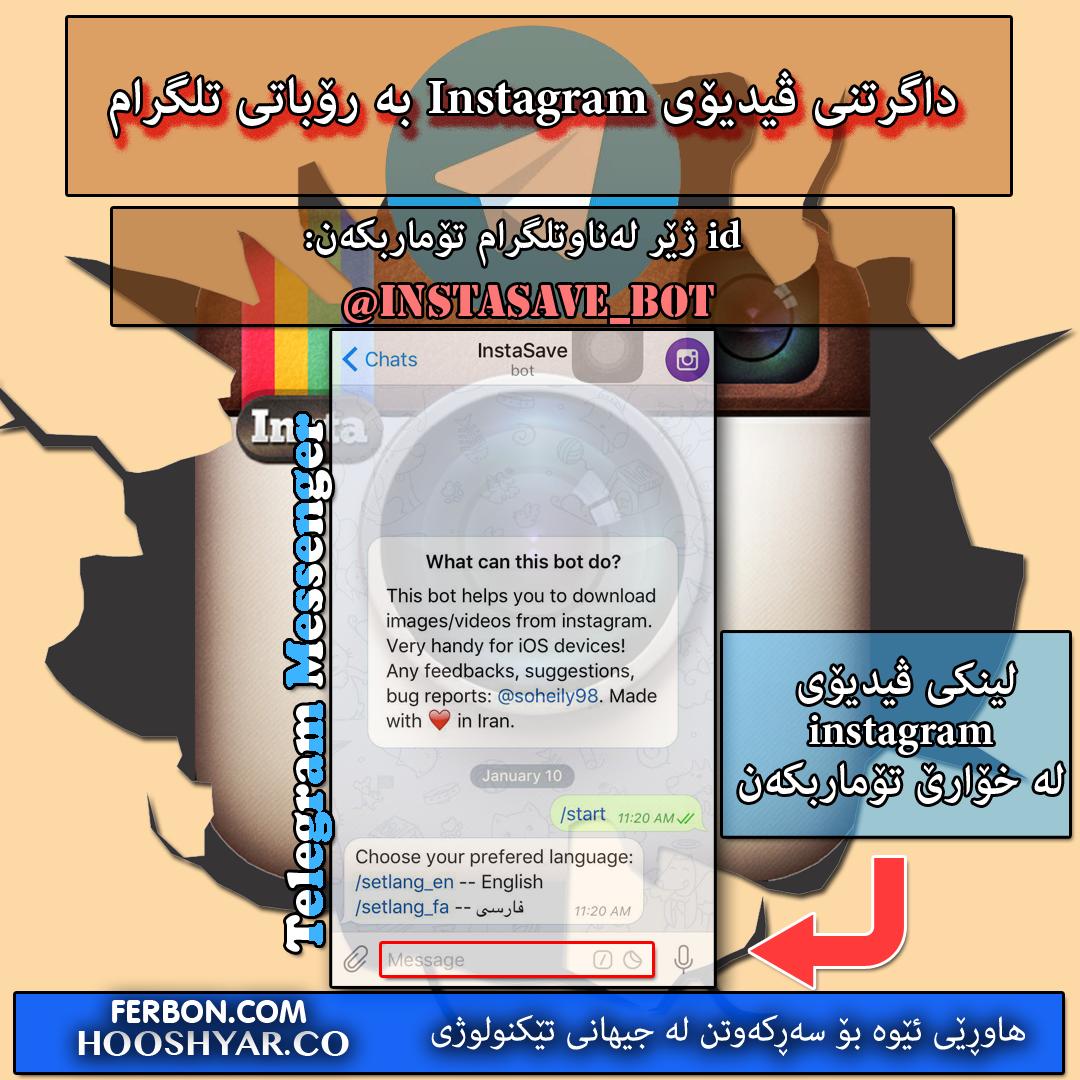 داگرتنی ڤیدیۆی instagram  بە رۆباتی تلگرام